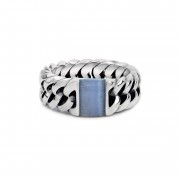 BUDDHA TO BUDDHA RING - CHAIN STONE RING BLUE LACE AGATE